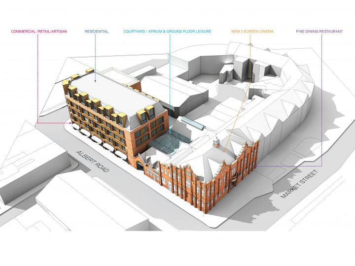 Ref: APP/17/01191 | Conversion of Edwardian Town Hall to a small one or two screen cinema/arts space with associated cafe/bistro, fine dining restaurant, atrium cafe/bar with small retail units around a central courtyard, with further retail units for artists and makers. Also included are 40 apartments on 4 levels above the ground floor artisan spaces. | The Old Town Hall, 4 ALBERT ROAD, HOYLAKE, CH47 2AB